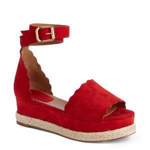 Chloé Lauren espadrille sandals red